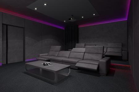 teatro: Cine en casa Interior. 3d ilustraci�n. Foto de archivo