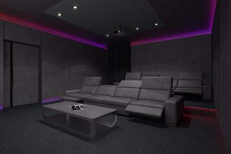 screen tv: Home Theater Interior. 3d illustration.