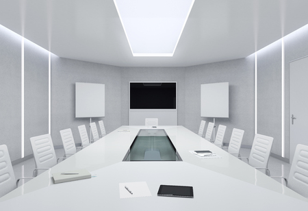 business meeting: Modern Meeting Room. 3d Illustration.