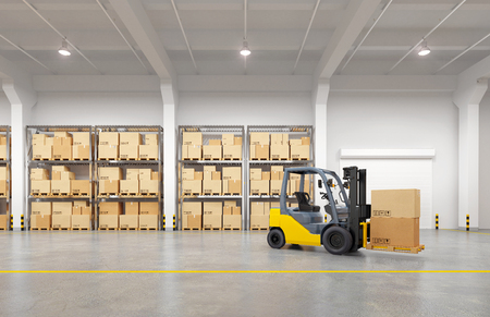 Forklift truck in warehouse. 3d illustration. Standard-Bild