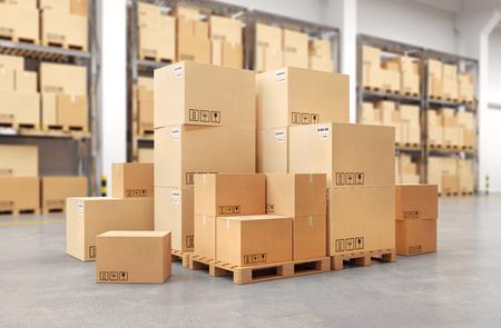 Cardboard boxes on a pallet. 3d illustration.