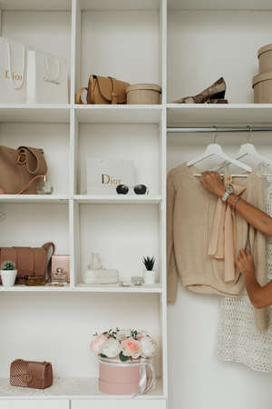 stylish minimalistic dressing room close-up with different things