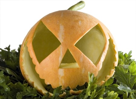 hollows: The small orange pumpkin with parsley on a  white background