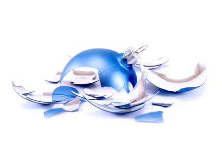 Pieces of broken blue Christmas ball Stock Photo - 2052298