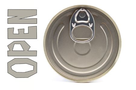 pulltab: steel round tin of the bank on white background