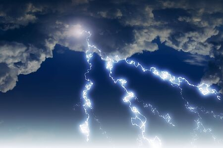 volts: lightning in dark cloudy sky