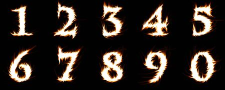 numerals: blazing numerals isolated on black
