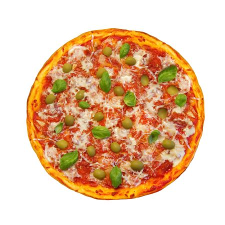 pizza pie: round pizza isolated on white background