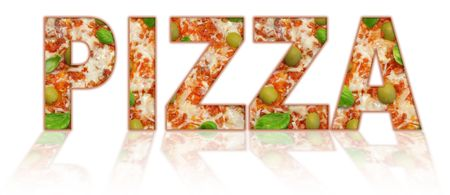 pizza pie: inscription pizza isolated on white