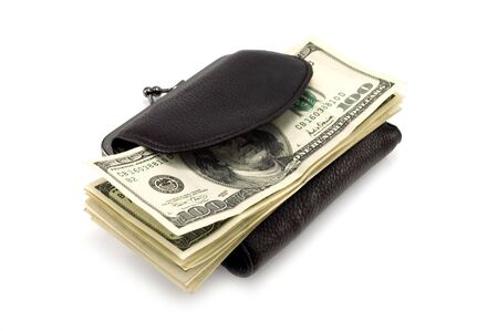 11 dollars note in black purse Stock Photo - 3741567