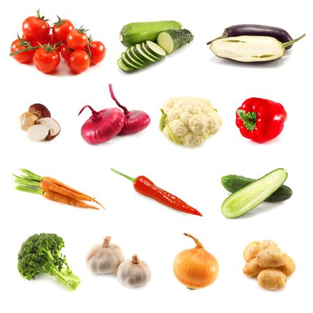 different vegetable isolated on white photo