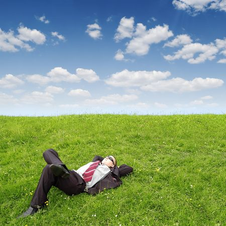 untruth: businessman sleeping on green grass