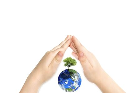 the earth and child hand Stock Photo - 3741402