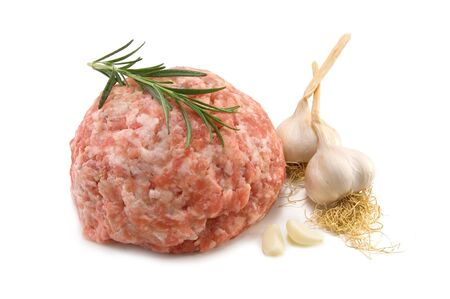 forcemeat:  force-meat and garlic isolated on white