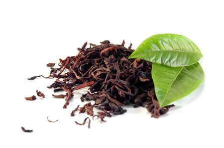 pekoe: black tea with leaf isolated on white background Stock Photo
