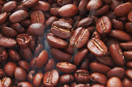 coffee bean with smoke closeup photo