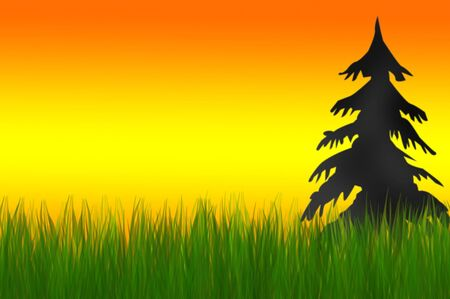 illustration of sunset and grass Stock Illustration - 3761464