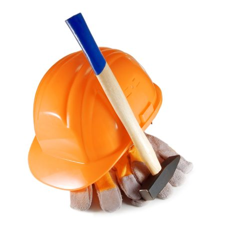 hammer, gloves and helmet isolated  Stock Photo - 3761371