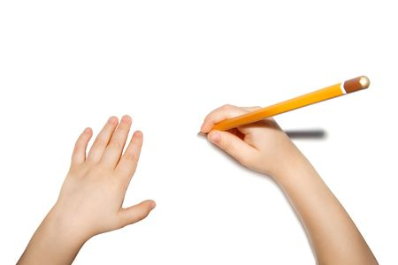 child hands with pencil isolated Stock Photo - 3761353