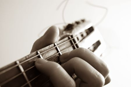 fingering: guitar and hand close up Stock Photo