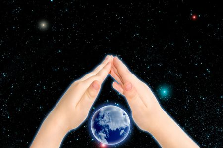 the planet in child hand Stock Photo - 3761467
