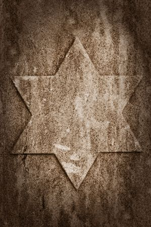 jewish star: old stone wall with jewish star