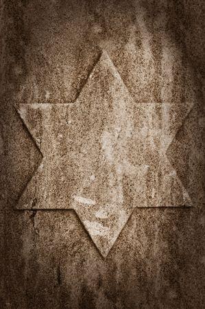 etoile juive: vieux mur de pierre avec �toile juive Banque d'images