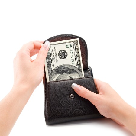 woman hand and purse isolated photo