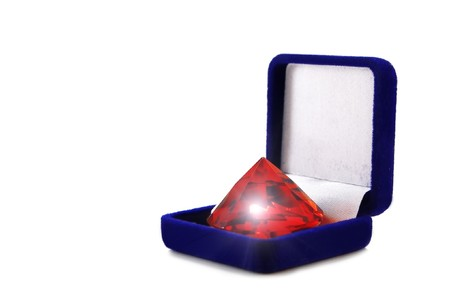 red ruby in box isolated photo