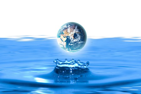 ripples: planet earth like water drop Stock Photo