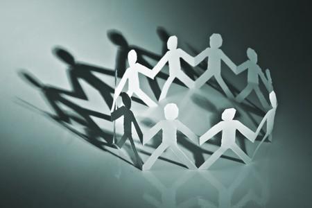 paper people in circle closeup