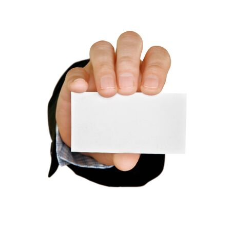 businesscard: businesscard and hand isolated on white