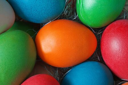 easter background from colorful eggs photo