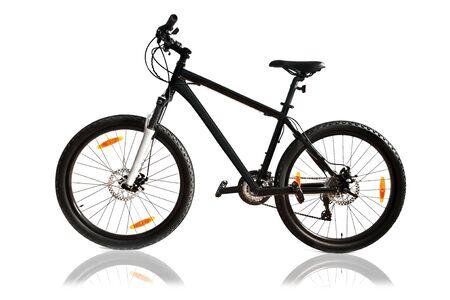 black bike isolated on white photo