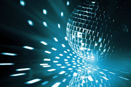 mirror ball: party ball light reflection backgrounds Stock Photo