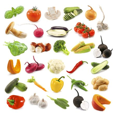 different vegetables isolated on white photo