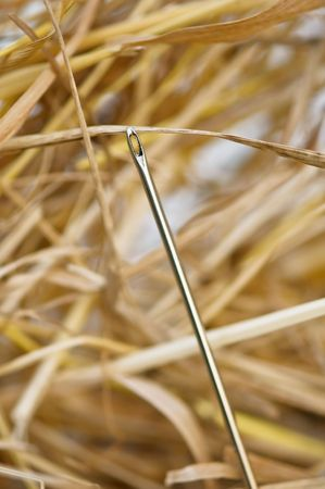 needle in hay stack closeup photo
