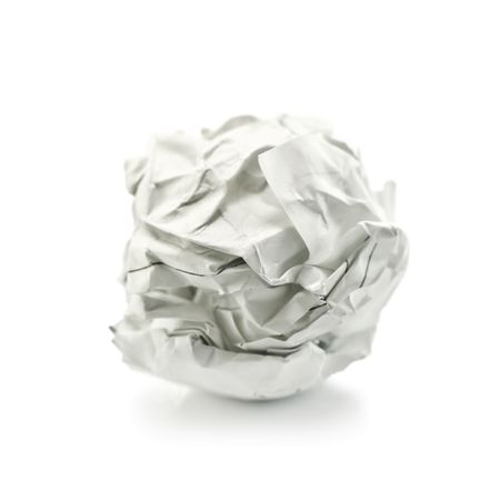 crumpled paper: paper ball isolated on white