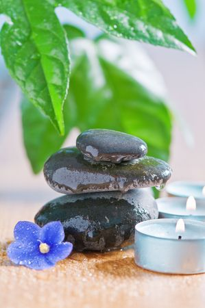 spa concept with stone and candle photo