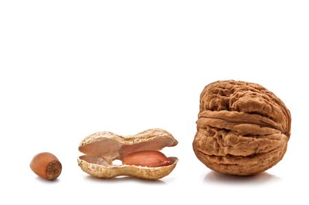 three different nuts isolated on white photo