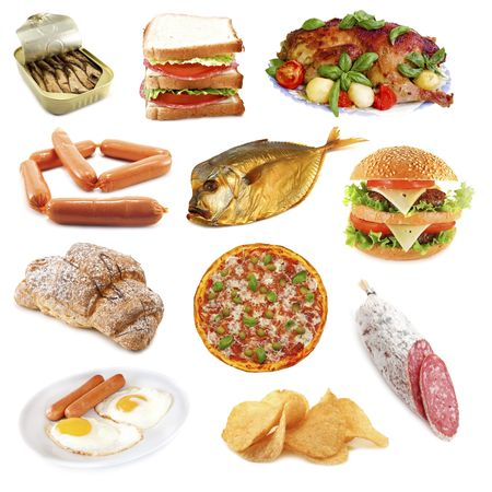 unhealthy food isolated on white photo