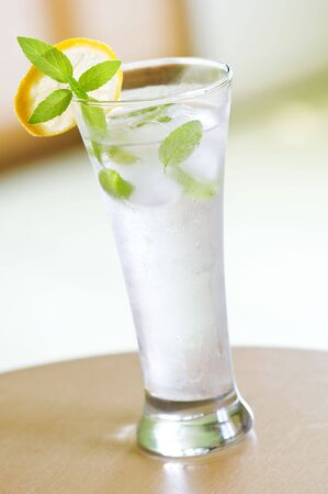 mint and ice drink closeup photo