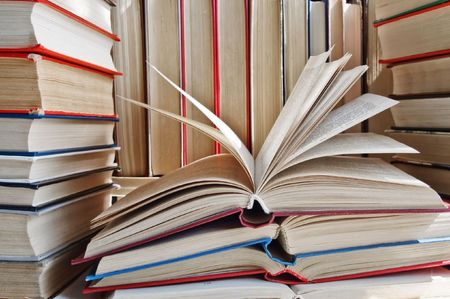 bibliophile: many different books close up Stock Photo
