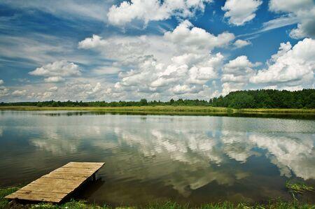 dais: wood dais on beauti lake Stock Photo