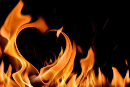 love image:  heart shape in fire flame