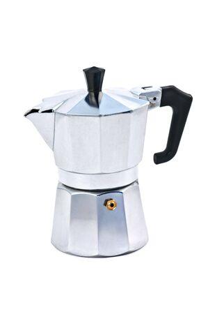 aluminum coffee maker isolated on white photo