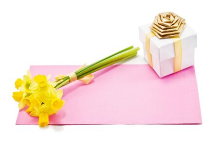 envelope and flower isolated on white photo