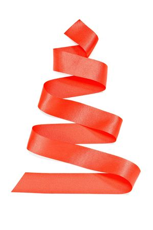 red ribbon fir tree isolated photo