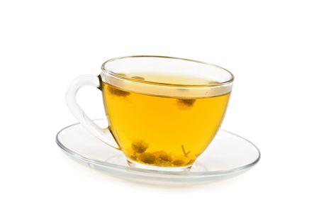 camomile tea isolated on white photo