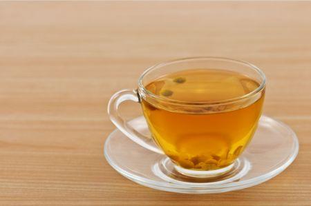 herbal tea on wood table photo